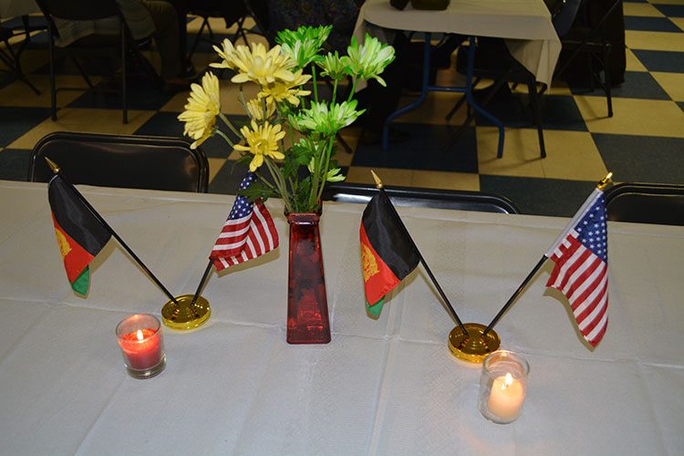 American and Afghan flags at Kabultec Benefit Dinner 2017.