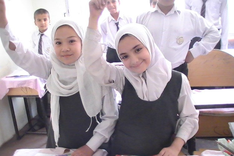 Girls at a school in Kabul, Afghanistan.