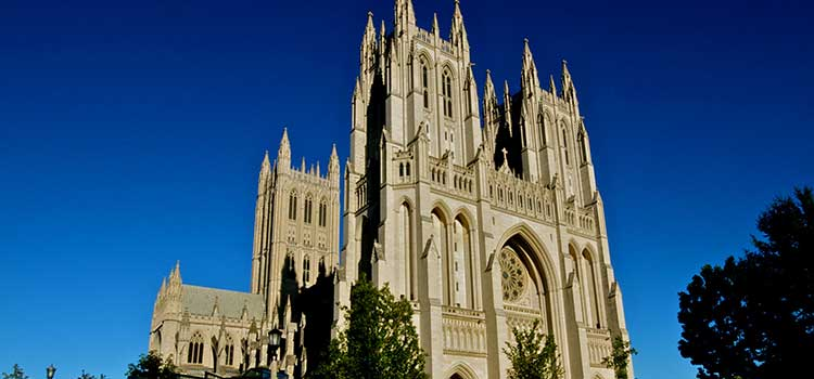 Exterior of the National Cathedral in Washington, DC.