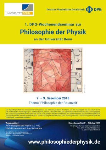1. DPG-Wochenendseminar zur Philosophie der Physik an der Universität Bonn, Thema: Philosophie der Raumzeit, December 7--9, 2018, Universität Bonn