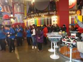 Joining in on a little dance at M&M world, NYC