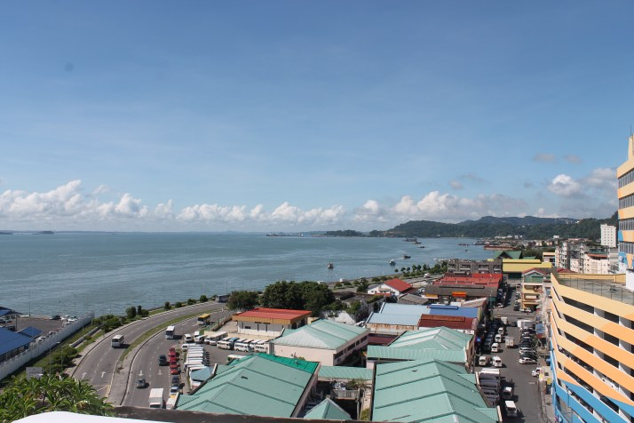 Looking onto Sandakan from the hotel roof-top