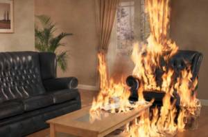 sofa in a burning house