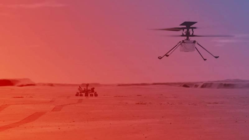 मंगल ग्रहमा हेलिकप्टर उडाउँदै नासाका वैज्ञानिक