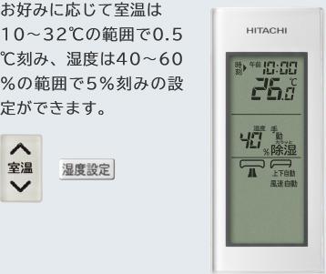 お好みに応じて室温は10~32℃の範囲で0.5℃刻み、湿度は40~60%の範囲で5%刻みの設定ができます。
