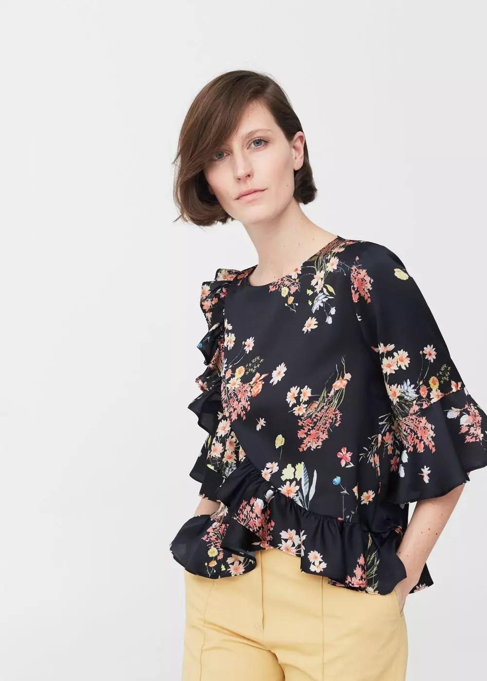 Wrap floral blouse