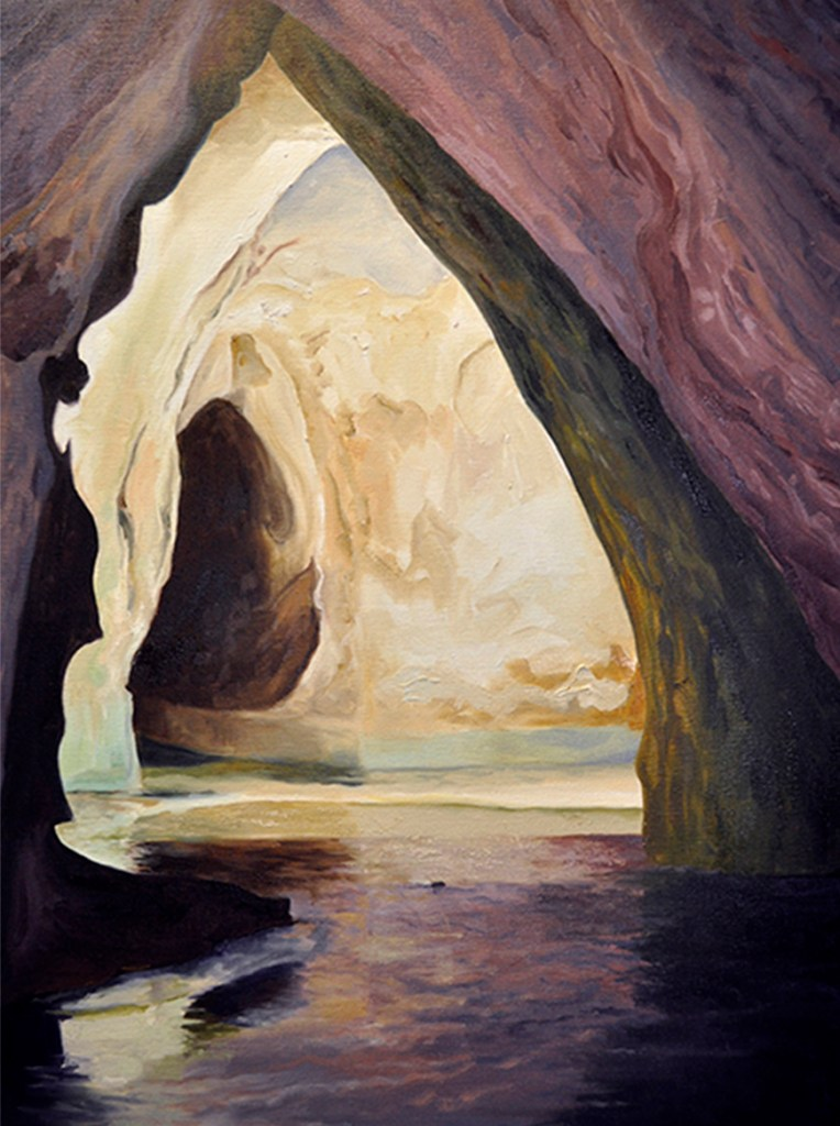 golden-light,cave-paintings,light-on-water-,kadira-jennings,landscape-painting,artwork,