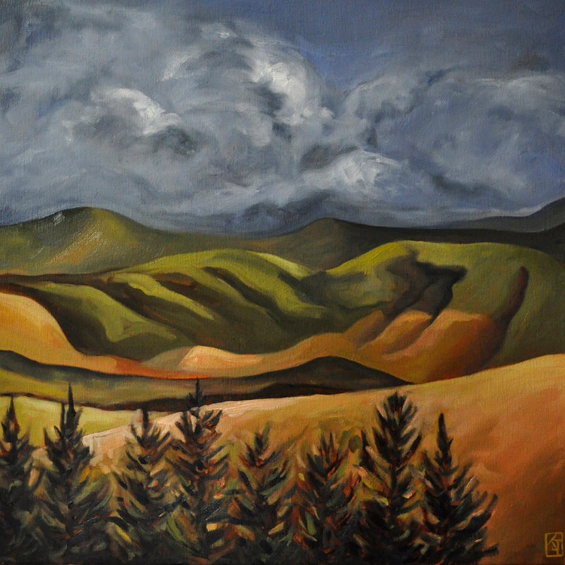 artwork,landscape-painting,landscapes,contemporary art,kadira jennings,NZ,Southland,pine-trees