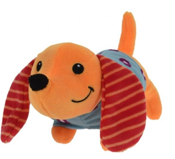 Free and Easy knuffelhond oranje/blauw 24x6x10 cm