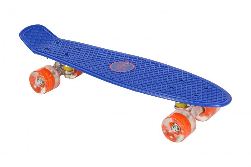 AMIGO skateboard met ledverlichting 55,5 cm blauw/oranje