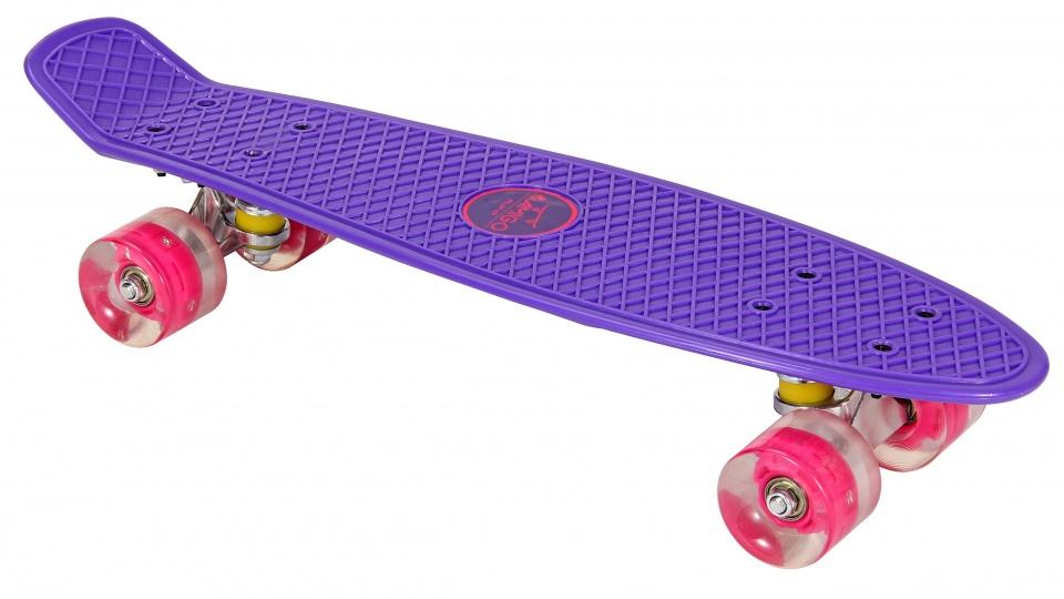 AMIGO skateboard met ledverlichting 55,5 cm paars/roze