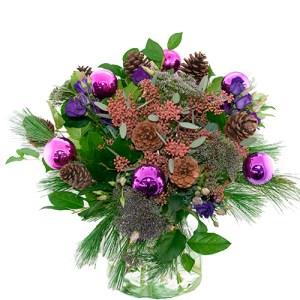 Kerstboeket lila paars