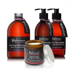 Highland Soap Co. Hand & Body Lotion Wilde Schotse Framboos 300ml, pomp