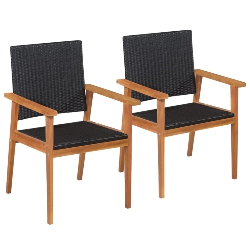 2 pcs Outdoor Classical Poly Rattan Chairs