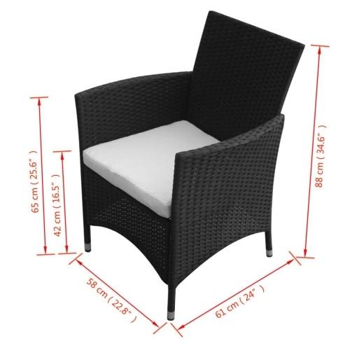 Garden Chairs 2 pcs Black Poly Rattan