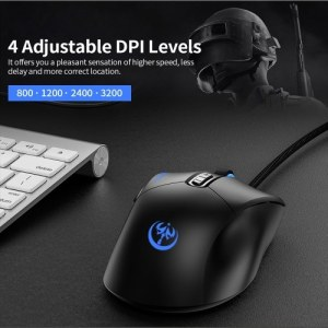 Wired Gaming Mouse 3200DPI Ergonomic Mouse 4 Adjustable DPI Levels 7 Programmable Buttons 6-color Breathing Light Black