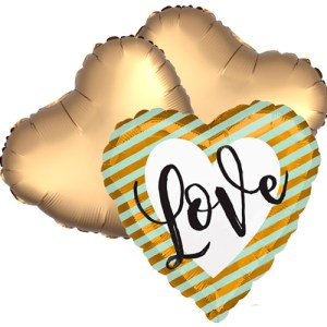 Ballonboeket Love Golden Stripes