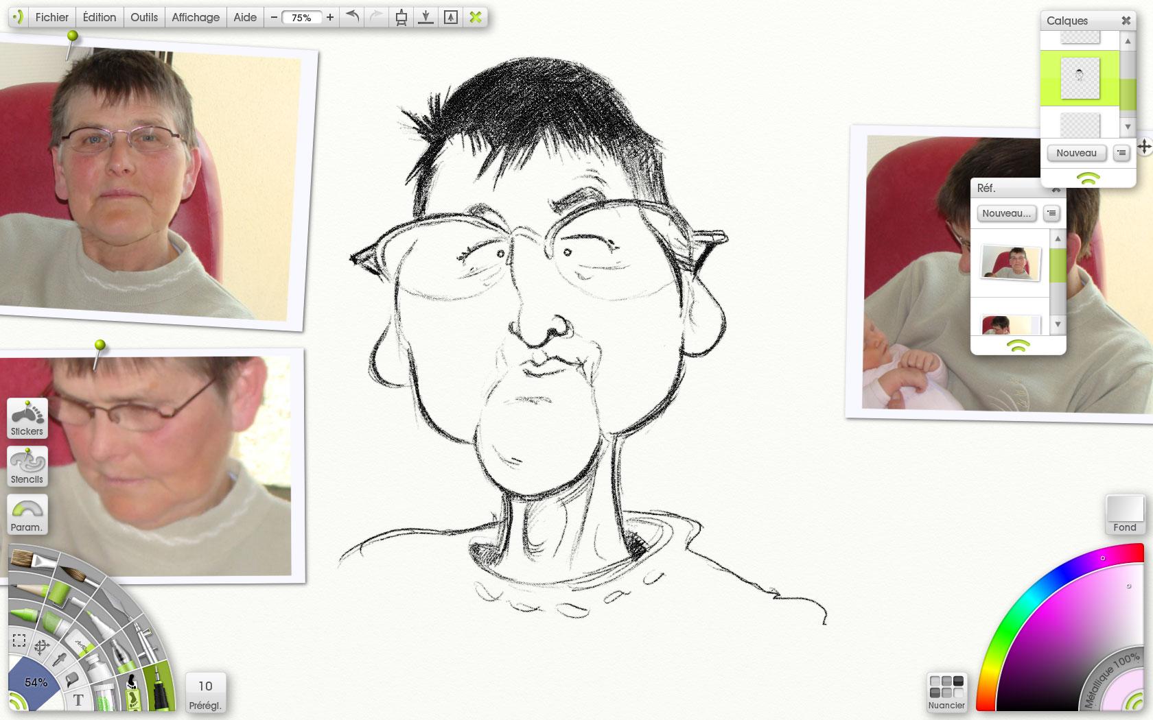 une mamie en caricature