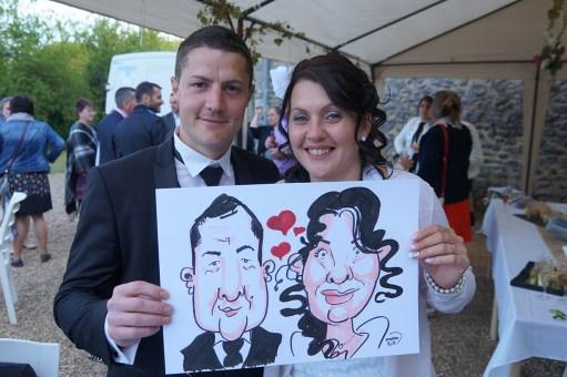 Mariage en caricatures d'Aline et Romain au Relais de Saulges, La Babinière [53270]