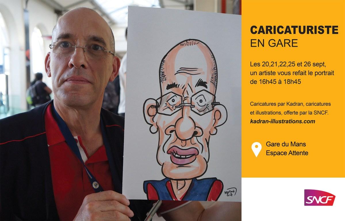 Animation caricature en gare SNCF du Mans