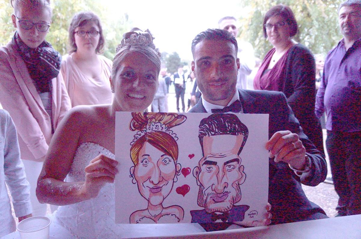 Mariage en caricatures de Sabrina et Majdi