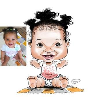 Bébé Mayssa en caricature pour son premier anniversaire