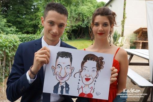 Mariage en caricatures de Mélanie et Matthias