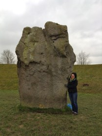 Touching a very old rock at Avebury (like 5,000 years old)
