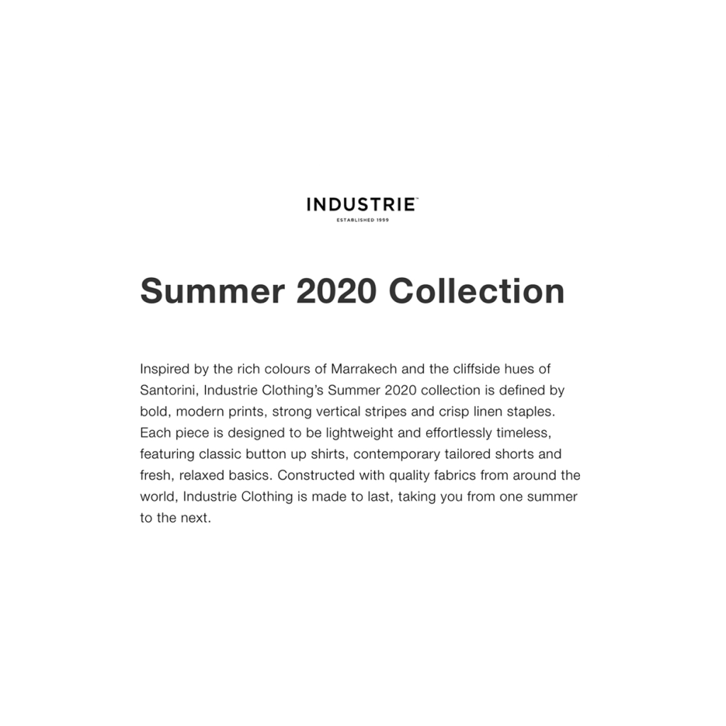 Industrie Summer 2020 Campaign Copy