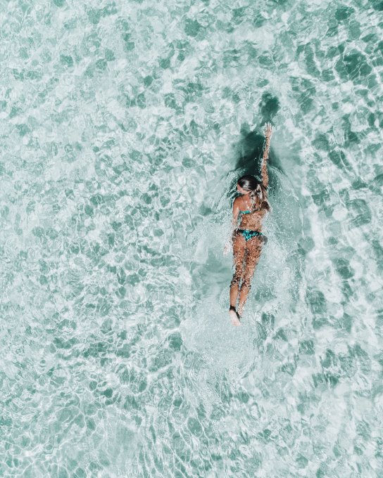 Aerial Of Kaede Swimming At Rainbow Beach