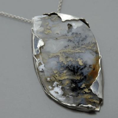 Storm Clouds Agate art jewelry pendant