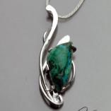 Chrysocolla and Silver Art Jewelry handmade pendant by Kaelin Design