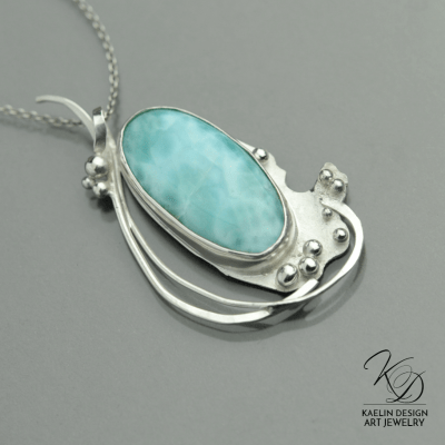 Ocean's Spray Larimar Blue Fine Art Pendant by Kaelin Design