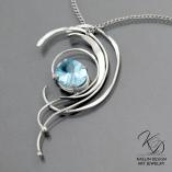 Water's Peak Fine Art Jewelry Topaz Pendant by Kaelin Design