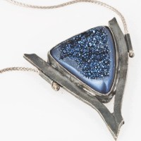 Space Dust Blue Druzy Pendant by Kaelin Design
