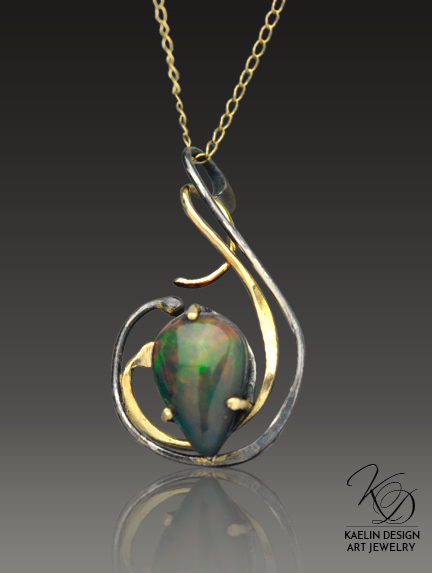 Whisper of Smoke Welo Opal and Gold Designer Pendant by Kaelin Design