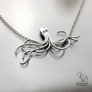 Forged Silver Octopus Pendant by Kaelin Design