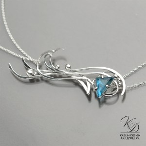 Turbulence Blue Topaz Art Jewelry Pendant by Kaelin Design