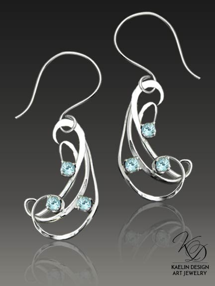 Berezan Blue Topaz Forged Silver Earrings by Kaelin Design