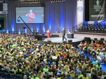 Presenting sexuality education program to a crowd of 4,000 freshmen students - 2012