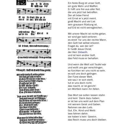 Ein feste Burg ist unser Gott, Lied in Johann Spangenbergs Gesangbuch, Magdeburg 1545
