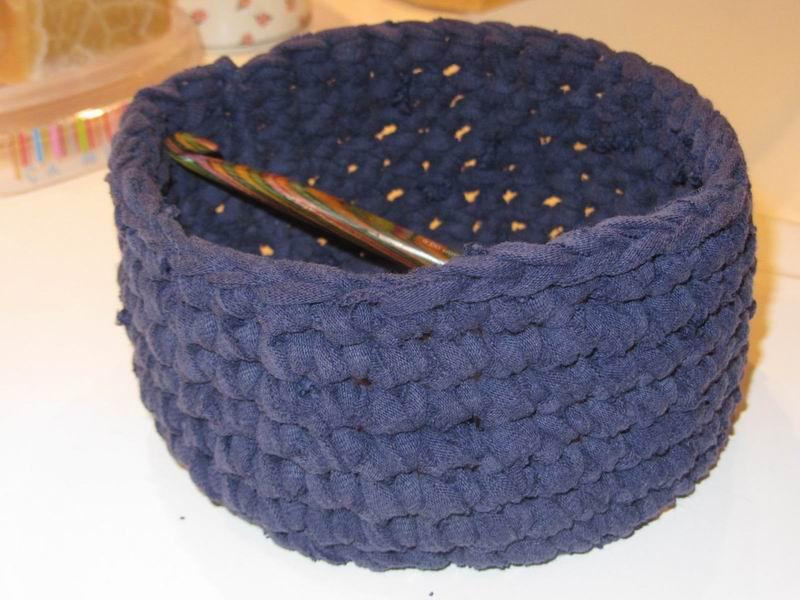 panier en crochet en tissu recycle