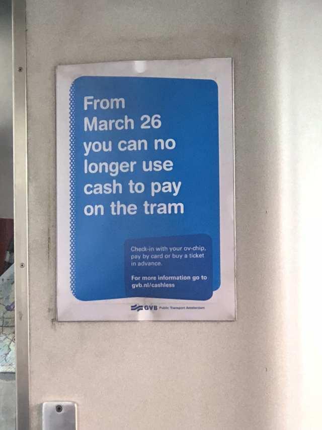 รถ Tram ในอัมสเตอร์ดัม ไม่รับเงินสดแล้วครับ