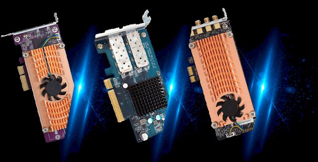 อุปกรณ์เสริมสำหรับ QNAP NAS ผ่าน PCIe ... จากซ้ายไปขวา M.2 SSD, 10GbE และ QWA-AC2600 Wiress adapter