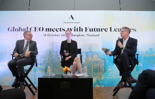 Alain Dehaze and Lisa Frommhold in The Adecco Group Global CEO Meets with Future Leaders in Thailand.