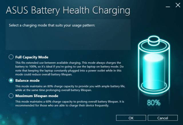 โปรแกรม ASUS Batter Health Charging มีโหมดการชาร์จแบตเตอรี่แบบต่างๆ เพื่อให้เหมาะสมกับการใช้งาน และยืดอายุแบตเตอรี่