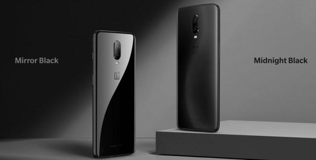 สองสีที่มาพร้อมกับ OnePlus 6T คือ Mirror Black และ Midnight Black