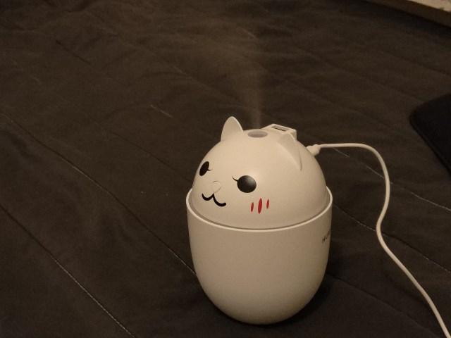 กดสวิตช์ที่ตรงจมูกของ Humidifier แล้วมันก็จะทำงาน ตัวที่ผมซื้อมา มันพ่นไอน้ำได้สองจังหวะ