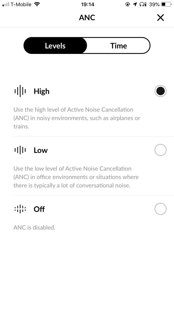 ตัวเลือกสำหรับ Active Noise Cancellation (ANC) มีสองระดับ