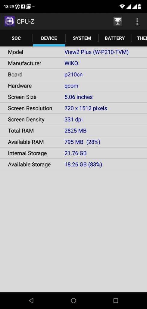 หน่วยความจำ 3GB และความจุ 32GB (แสดงข้อมูลด้วย CPU-Z)